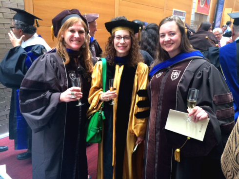 Professor LeMaster with 2017 Ph.D. Graduates Amanda Brown and Kimberly Fabbri